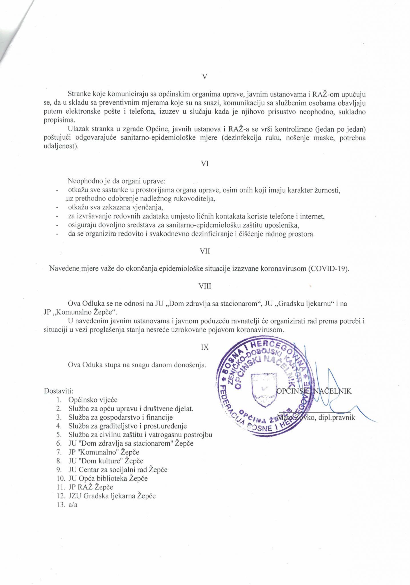 Odluka-2 Donesena Odluka o načinu rada organa uprave Općine Žepče zbog novonastale situacije pandemije koronavirusa